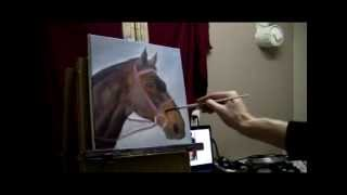Real-Time Unedited Footage of Acrylic Horse Portrait Painting by Brandon Schaefer