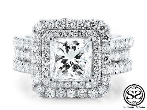 Matching Double Halo Engagement Ring Wedding Band Set Youtube