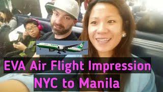 eva air flight impression jfk to mnl new york to manila   hello philippines vlog