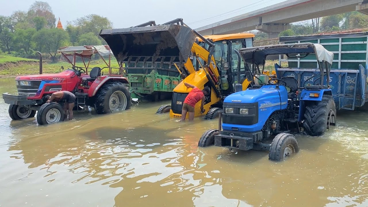 Mahindra Arjun Novo 605 Di-i | Sonalika Di 60 Rx | John Deere | JCB 3dx Washing in Deep River