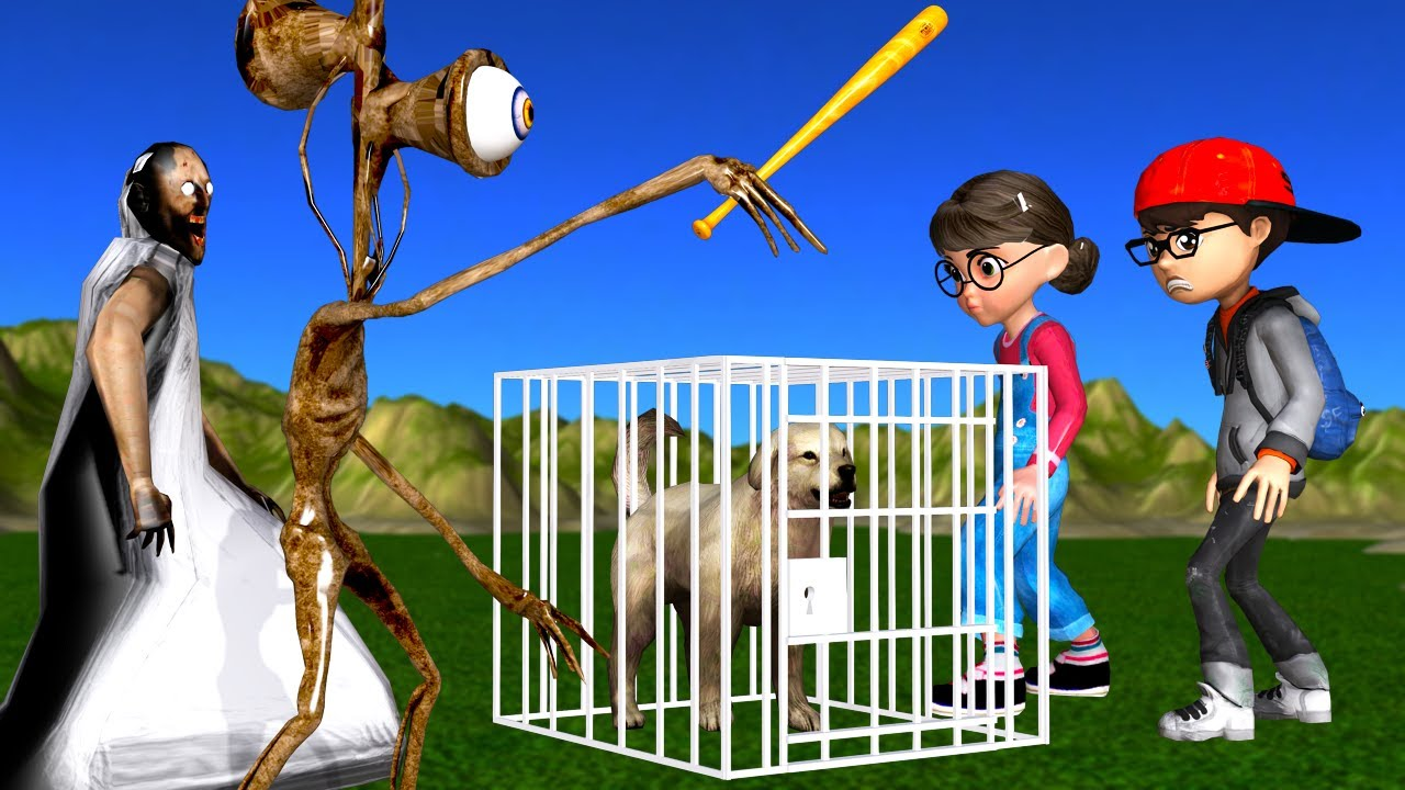 Scary Teacher 3D Siren Head and Granny Troll Nick with Tani - Miss T Rescue Pet Fun Animation Games