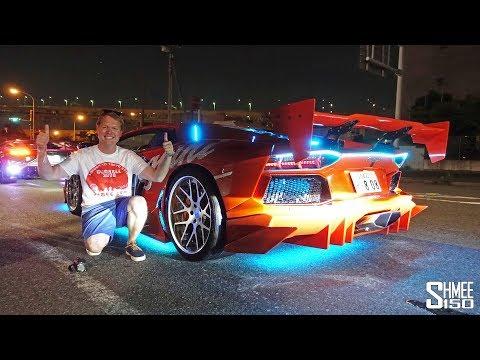 LED-Emblazoned Lamborghinis Light Up Tokyo For Gumball 3000