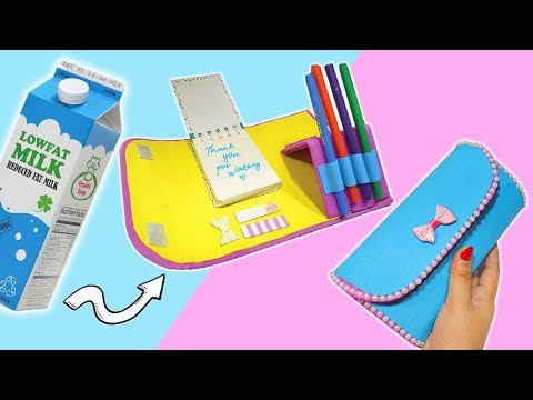 AWESOME IDEA HOW TO RECYCLE MILK CARTON BOX| DIY ORGANIZER POUCH| DIY PENCIL CASE FOR BACK TO SCHOOL