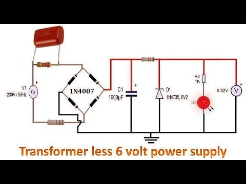 transformerless 6 volt power supply circuit - youtube  youtube