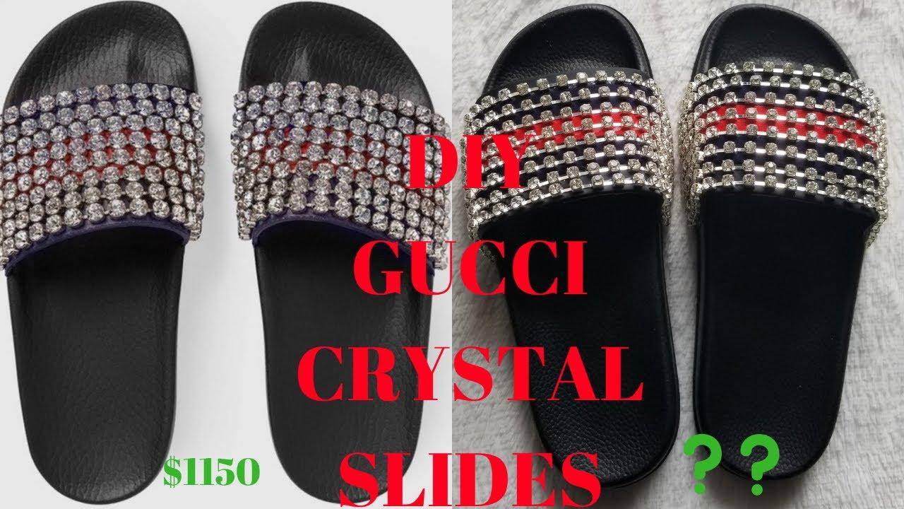 91da60db2772 DIY GUCCI CRYSTAL SLIDES - YouTube