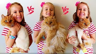 Катя играет с кошкой по имени Блум Пушистая против Стильной  CAT Fluffy  VS Stylish