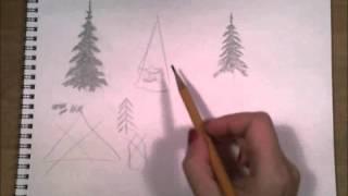 Как рисовать ёлки карандашом