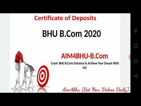 BHU B.COM ENTRANCE 2020 | Business Finance | Certificate Of Deposit | Detailed Explanation