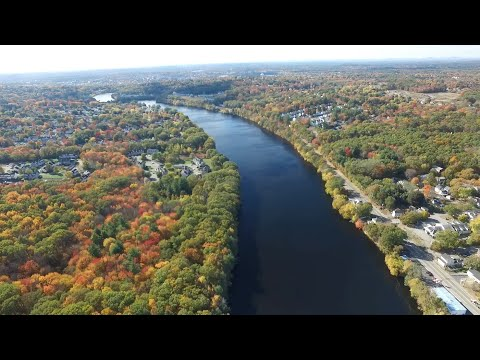 Fall Colors of the Merrimack River, Dracut Tewksbury and Andover MA, Drone Footage (Full Flight)