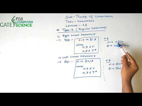 Theory of Computation Lecture –6.3(Regular Grammars) | Gate For Computer Science