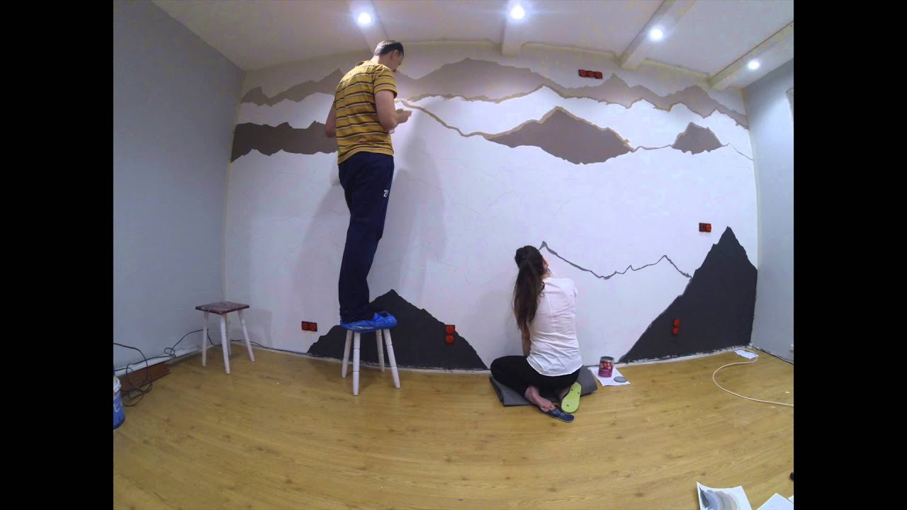 Mountain mural youtube for Diy mountain mural