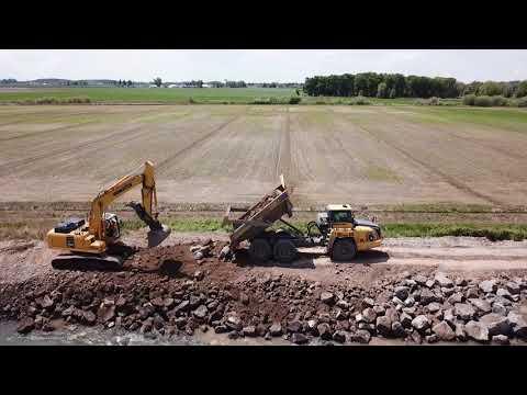 Drone video (UAV) - Emergency Levee Repair in Jefferson County, Idaho (1080p B-roll)