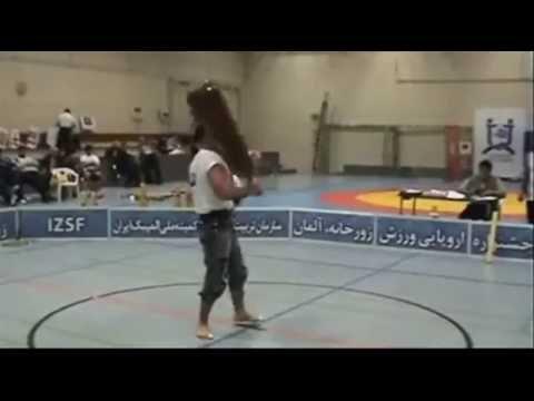 Ali Farzaneh swinging heavy Meel Sangin (Indian Clubs) in Zurkhaneh competition