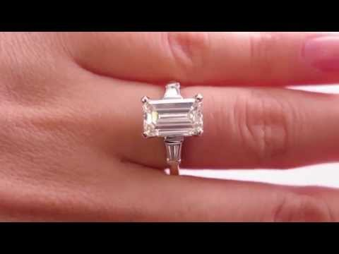 Classic Vintage 3.37ct Emerald Cut and Baguette Diamond Engagement Platinum and 18k Yellow Gold Ring