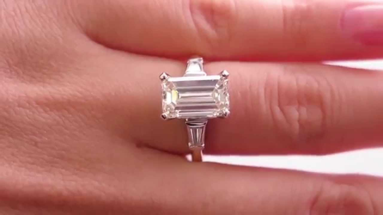 Classic Vintage 3.37ct Emerald Cut and Baguette Diamond Engagement ...