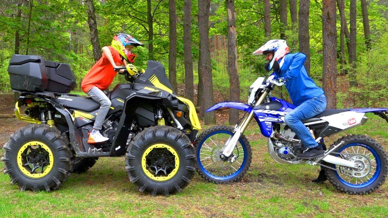 Я vs ПАПА... КВАДРИК vs МОТОЦИКЛ... ATV vs MOTORCYCLE | Автоматического Заработка Программа