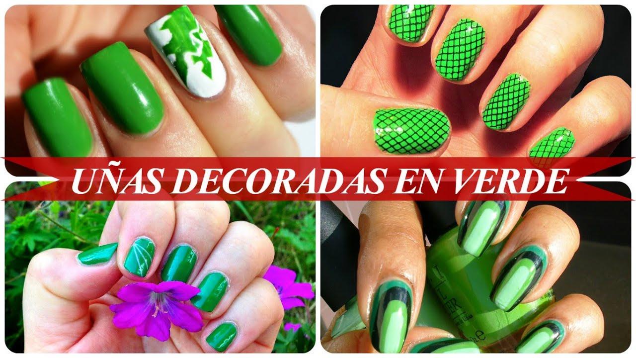 Uñas decoradas en verde - YouTube