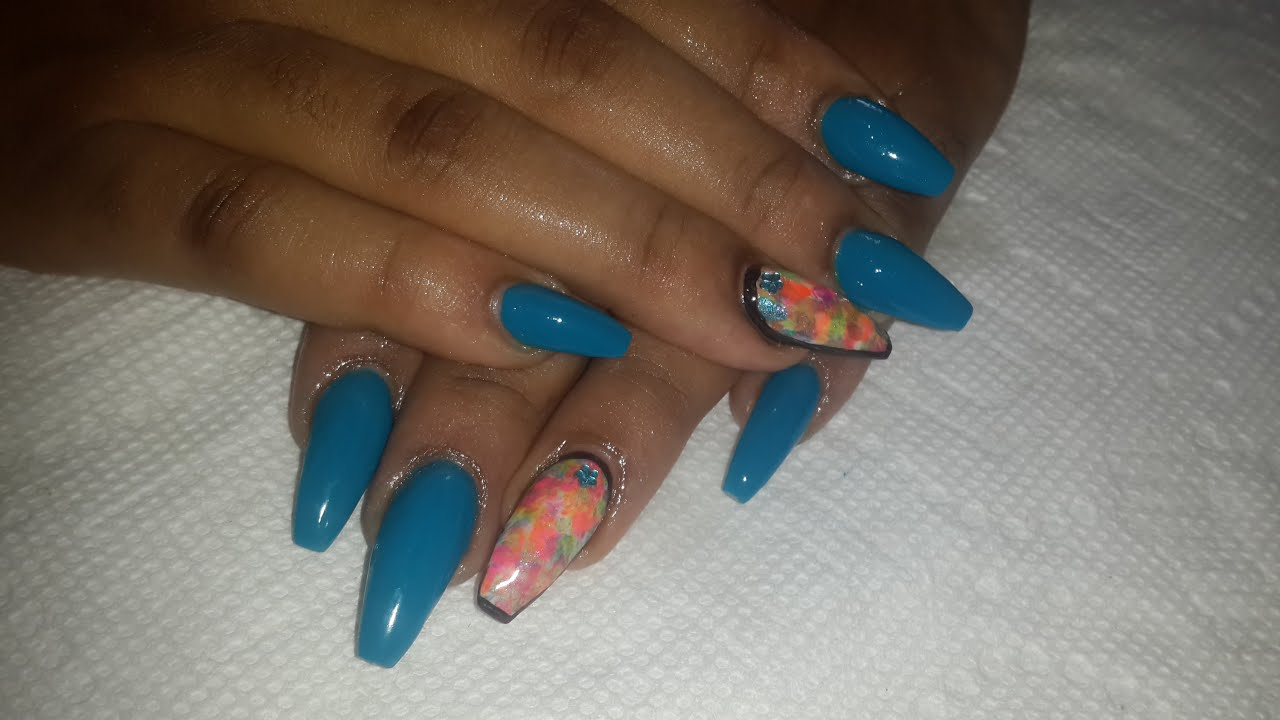 Blue Coffin Nails *Drybrush NailArt* - Nail Art Tutorial - YouTube