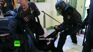 Dramatic: Catalan woman 'thrown down stairs, kicked' by Spanish cops