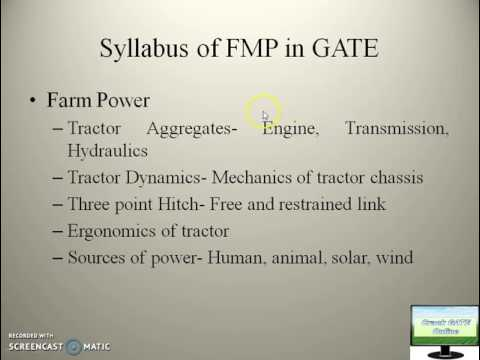 1.2 Introduction to Farm Machinery and Power Engneering for GATE in Agricultural Engineering