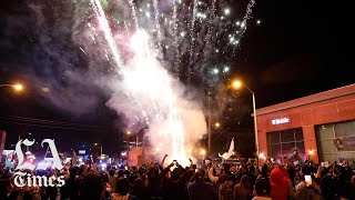 Street party erupts in East L.A. after Dodgers World Series win