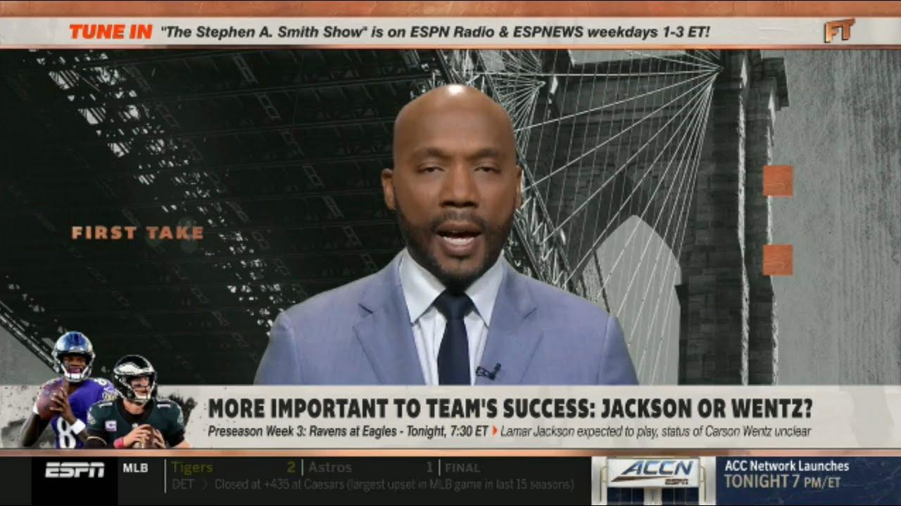 ESPN FIRST TAKE | Louis Riddick Analyze: More Important to team's success:  Jackson or Wentz?
