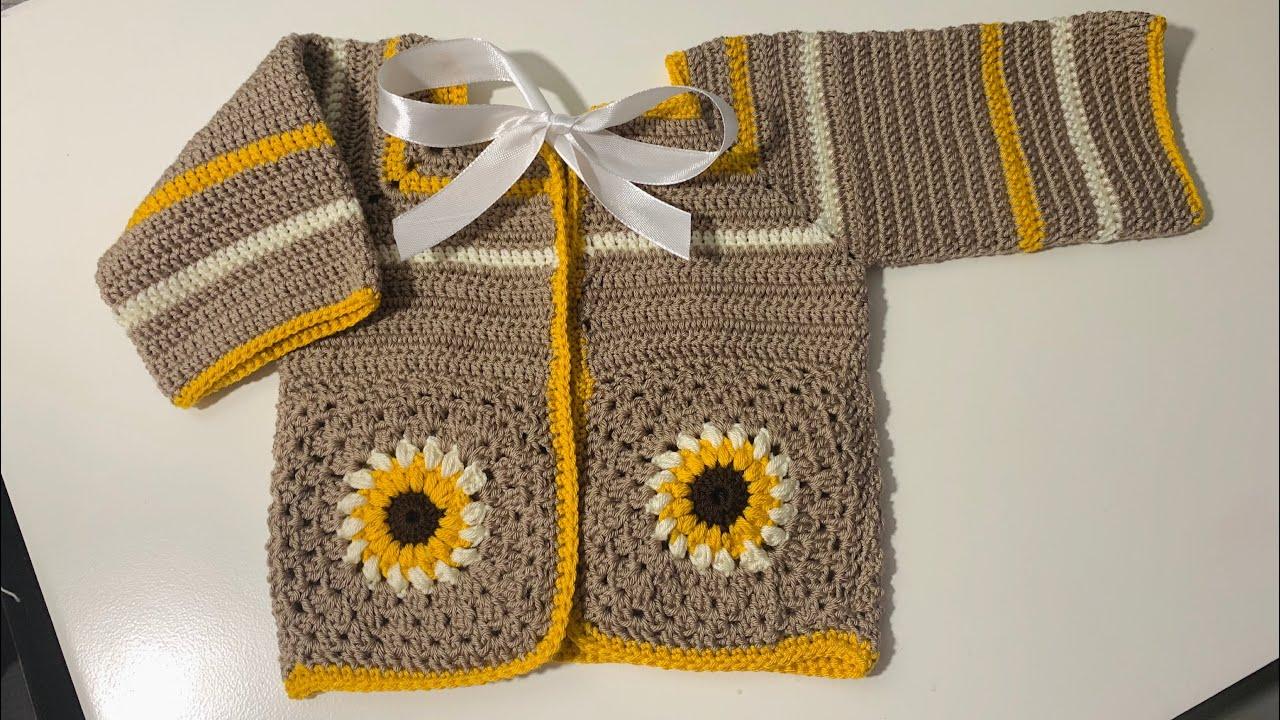 Como tejer sueter para bebe a crochet | Chambrita tejida a crochet | 0 a 3 meses | paso a paso