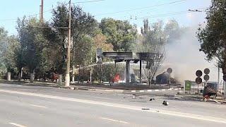 شاهد.. حريق ضخم في محطة وقود بروسيا وإصابة 13 شخصاً