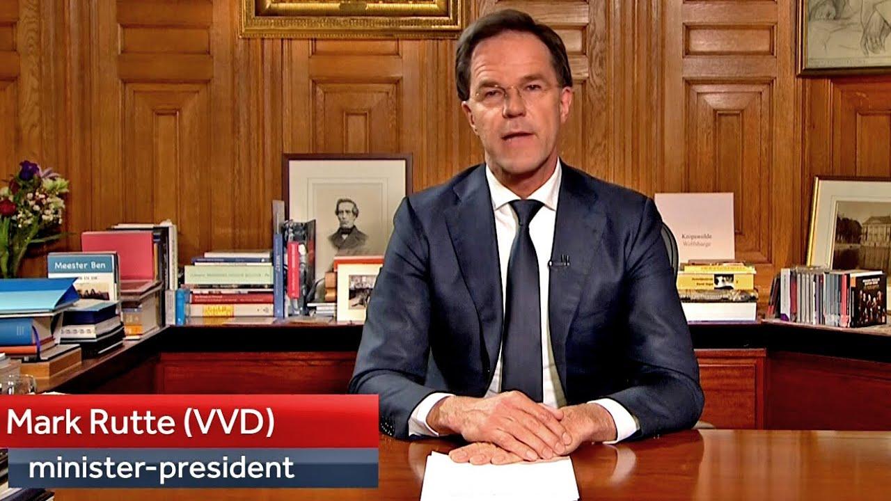 Historische Live Persconferentie Van Premier Mark Rutte Op