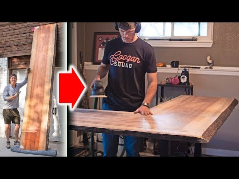 DIY Standing Desk with HUGE TIGER WOOD SLAB!