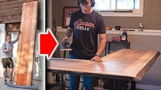 DIY Standing Desk with HUGE TIGER WOOD SLAB!