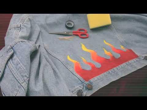 DIY FLAMES DEMIN JACKET