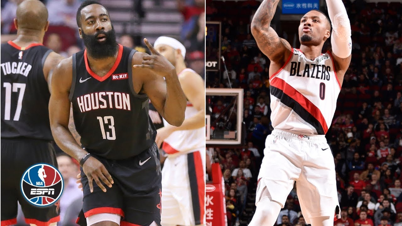 e39053eac53 James Harden battles it out with Damian Lillard in Rockets  win ...