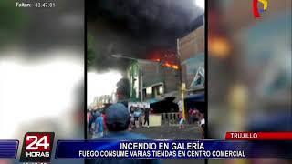 Voraz incendio consume centro comercial 'Tacora' de Trujillo