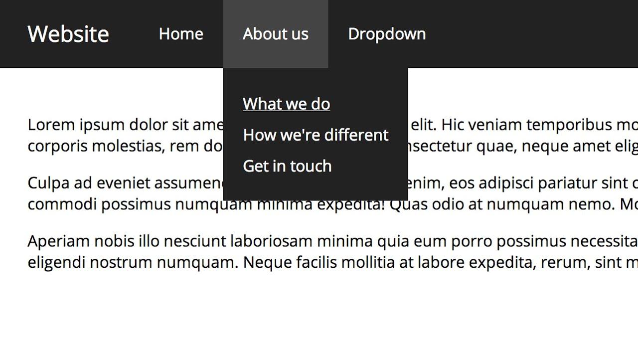 Drop down navigation bar css code