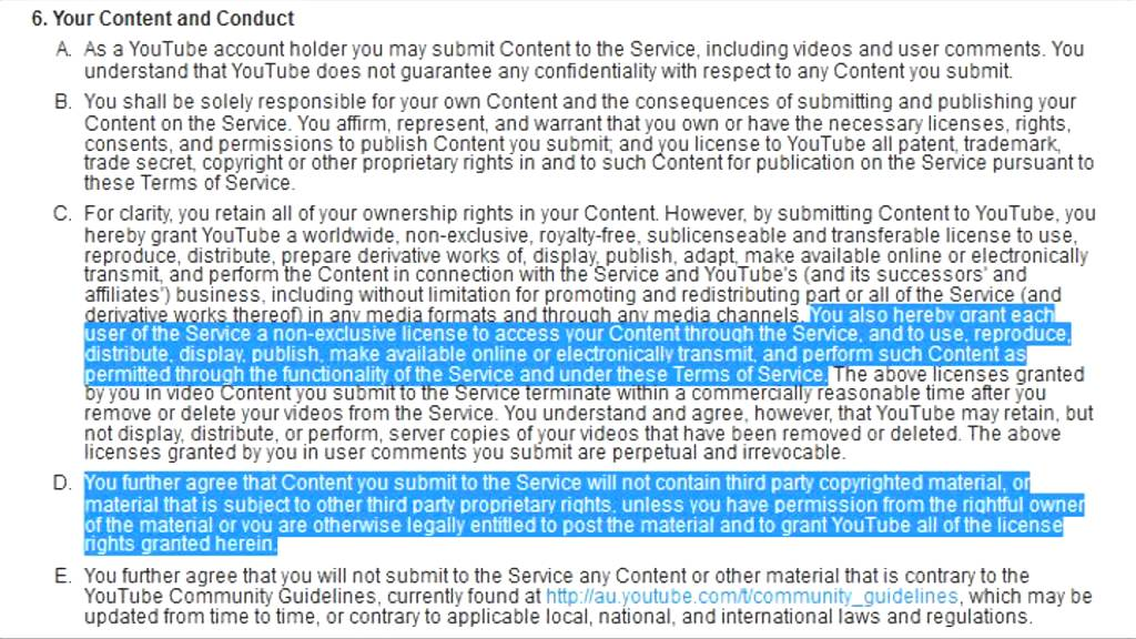 Terms Of Service Section 6c Youtube