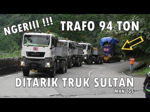 AUTO VIRAL !!! 3 UNIT TRUK MAN TARIK TRAFO 94 TON NANJAK SITINJAU LAUIK