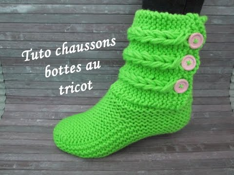 tuto chausson tresse torsade au tricot booties knitting. Black Bedroom Furniture Sets. Home Design Ideas