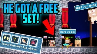 I trashed a noob's set and gave him an EXPENSIVE SET! | Growtopia funny