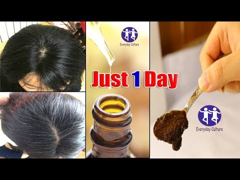 OMG! Apply it 1 Night TURN white hair to black hair Permanently just 1day