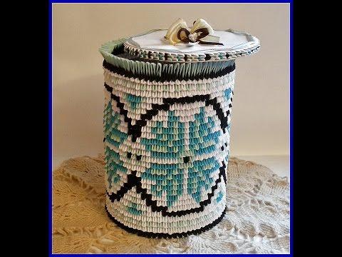 3D origami paper vase (storage box) with Ukrainian patterns Tutorial
