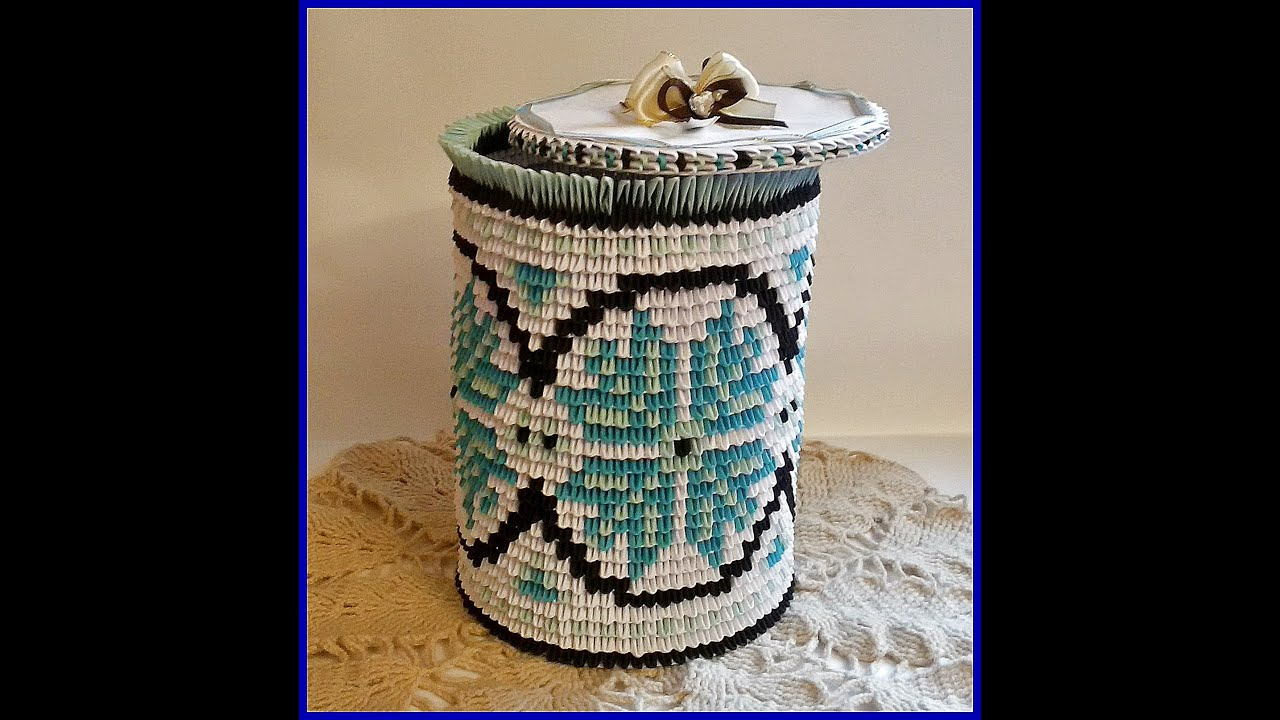 3D Origami Paper Vase Storage Box With Ukrainian Patterns Tutorial