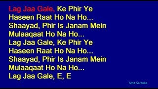 Lag Jaa Gale - Lata Mangeshkar Hindi Full Karaoke with Lyrics