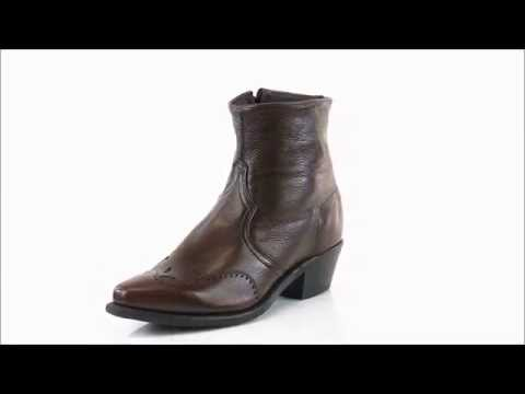 Abilene Boots Mens Antique Walnut Cowhide Cowboy Zip USA - Style # 6443