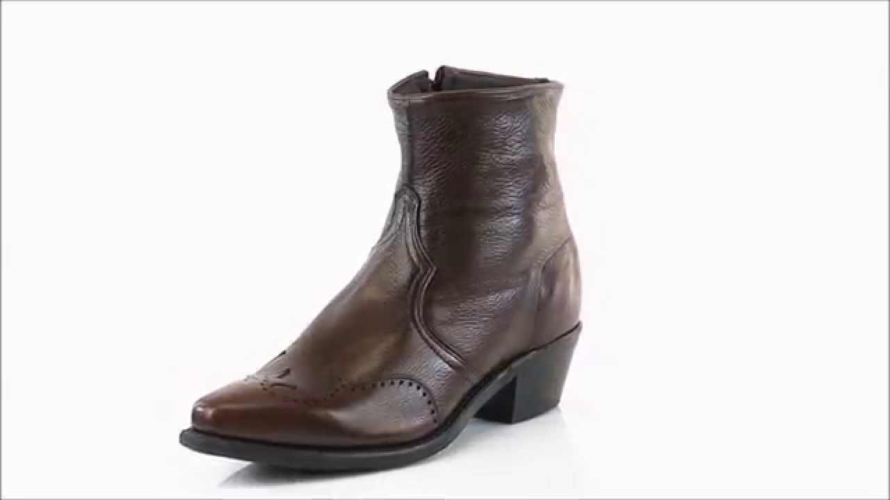 Abilene Boots Mens Antique Walnut Cowhide Cowboy Zip