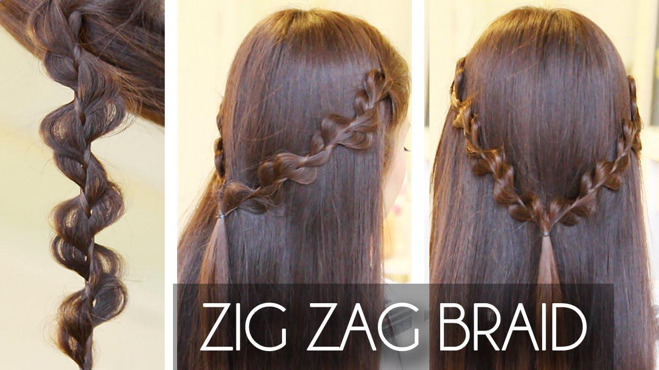 zig zag / rick rack braid hair tutorial   hairstyles - youtube