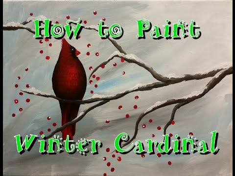 Winter Cardinal Step by Step Acrylic Painting on Canvas for Beginners