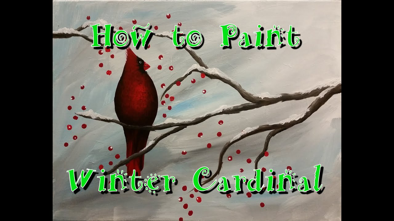 Winter Cardinal Step By Acrylic Painting On Canvas For Beginners