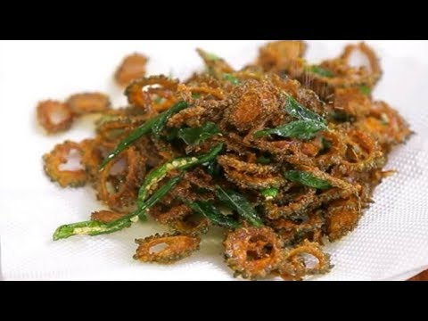Crispy Karela Chips in Tamil   How To Make Bitter Gourd Chips By Preetha   Pavakkai Chips