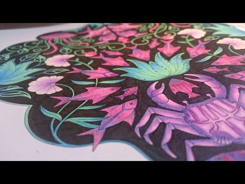 Johanna Basford - Lost Ocean - How to color a Mandala with black Background